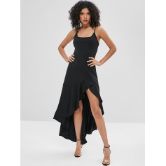 Asymmetric Cami Flounce Long Dress - Black L