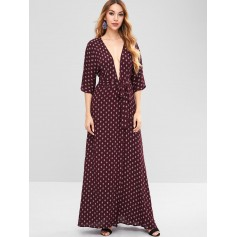 Plunge Slit Printed Maxi Dress - Red Wine M