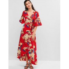 Bell Sleeves Floral Print Belted Maxi Dress - Chestnut Red M