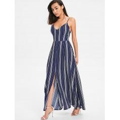 Bow Tie Cami Striped Maxi Dress - Midnight Blue Xl