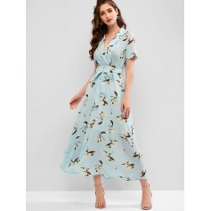 Flower Print Lapel Ankle Length Belted Dress - Multi M