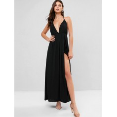 Backless Solid Maxi Halter Dress - Black S