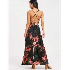 Cami Floral Criss Cross Maxi Dress - Black L