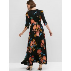 Buttons Slit Floral Vacation Maxi Dress - Black S
