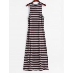 Sleeveless Stripes Slit Maxi Dress - Multi L