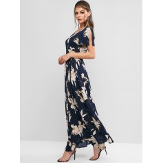 Spilt Sleeve Floral Print Maxi Wrap Dress - Deep Blue S