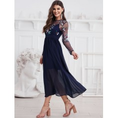 Long Sleeve Embroidered Sequined Sheer Mesh Panel Dress - Midnight Blue S