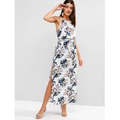 Belted Floral Slit Maxi Dress - Multi Xl