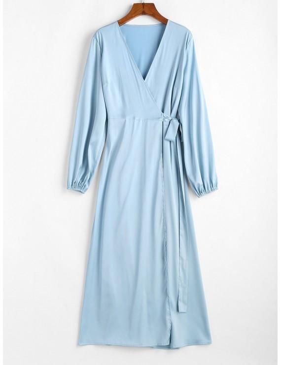 Satin Maxi Wrap Dress - Blue Koi Xl