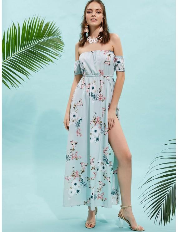 Floral Slit Off Shoulder Maxi Dress - Mint Green S