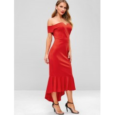 Back Zipper Off Shoulder Mermaid Dress - Lava Red M