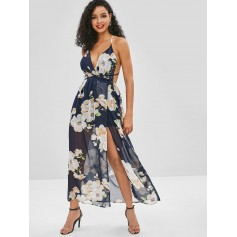 Backless Slit Floral Maxi Dress - Midnight Blue S