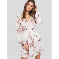 Flower Print Layered Long Sleeve Belted Dress - Milk White M