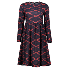 Argyle Fit And Flare Long Sleeve Dress - Red S