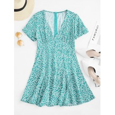 Gathered Sleeve Floral A Line Mini Dress - Green L