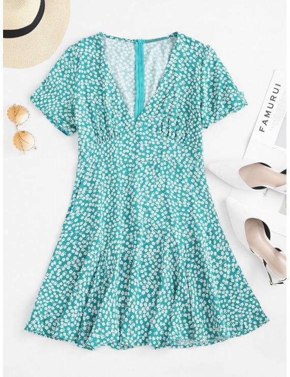 Gathered Sleeve Floral A Line Mini Dress - Green L