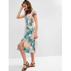 Leaf Print Ruffled Slit Plunge Midi Dress - Multi L