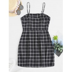 Button Up Plaid Sheath Cami Dress - Multi S