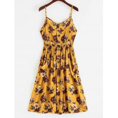 Floral Pocket Cami A Line Dress - Bee Yellow L