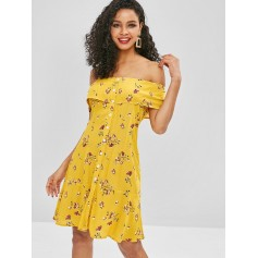 Floral Button Up Off Shoulder Dress - Yellow L