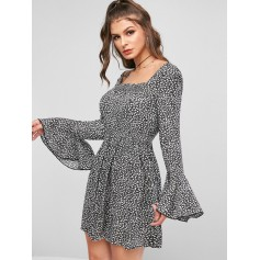 Ditsy Floral Flare Sleeve Square Neck Mini Dress - Black S
