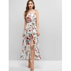 Floral Print Smocked Back Slit Dress - Multi S