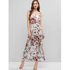 Floral Print Smocked Back Slit Dress - Multi S