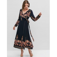 Flower Print Long Sleeve Knotted Wrap Dress - Cadetblue S