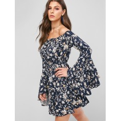 Flower Butterfly Sleeve High Waist A Line Dress - Cadetblue M