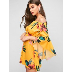 Floral Flare Sleeve Off The Shoulder Dress - Goldenrod L