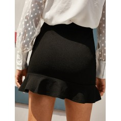 Flounce High Waisted Mini Mermaid Skirt - Black S