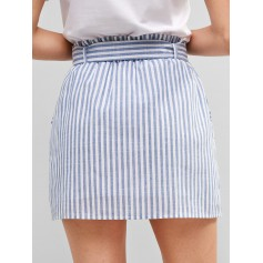 Belted Buttoned Stripes Mini Skirt - Light Blue M