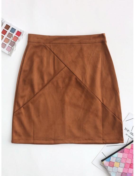 Back Zipper Faux Suede A Line Skirt - Brown M