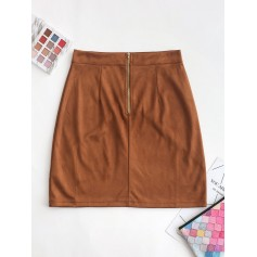 Back Zipper Faux Suede A Line Skirt - Brown M