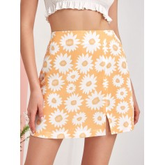 Flower Print Slit Mini A Line Skirt - Goldenrod S