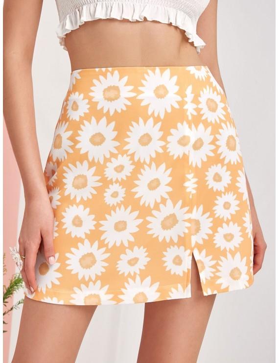 Flower Print Slit Mini A Line Skirt - Goldenrod S