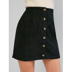 Corduroy Button Fly High Rise Skirt - Black M