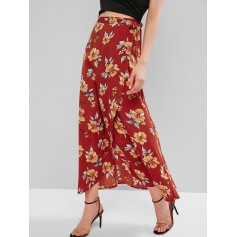 Flower Maxi Wrap Skirt - Chestnut Red M