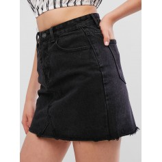 Raw Hem Fitted Mini Denim Skirt - Black S