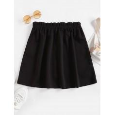 Mock Button Ruffle Mini Skirt - Black L