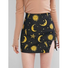 Cut Out Sun And Moon Denim Mini Skirt - Black S