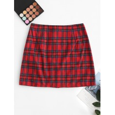 Front Zip Plaid Mini Skirt - Red Wine L