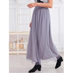 Lined Mesh Pleated Maxi Skirt - Gray M