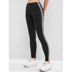 Contrast Striped Tapered Skinny Leggings - Black S