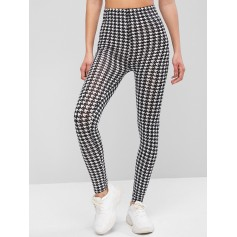 Houndstooth Print High Waist Leggings - Multi-a