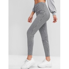Plaid High Waisted Skinny Leggings - Multi-a S