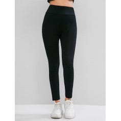 Basic Elastic Waist Skinny Leggings - Black S