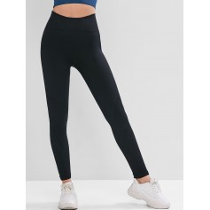 High Waist Solid Sports Leggings - Black M