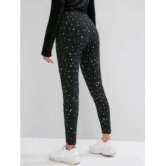 Glitter Foil Star Moon Elastic Waist Skinny Leggings - Black M