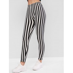 High Waisted Pull On Stripes Leggings - Black